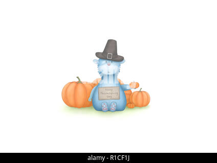cute hand draw illustration of blue fantasy animal, sitting down with pumpkins and sign with text Happy Thanksgiving Day, isolated on white background - Stock Image
