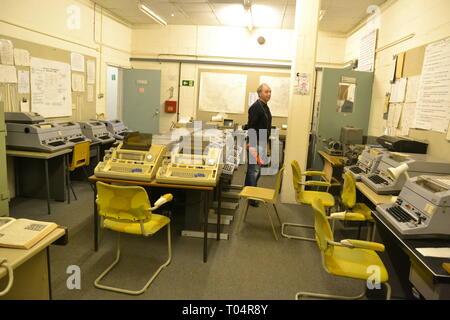 Communications room at Kelvedon Hatch Secret Nuclear Bunker, Brentwood, Essex, UK - Stock Image
