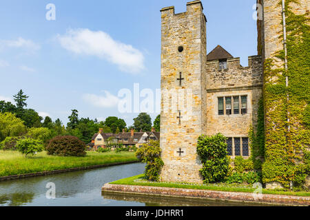 Hever Castle and Moat, Hever Castle & Gardens, Hever, Edenbridge, Kent, England, United Kingdom - Stock Image