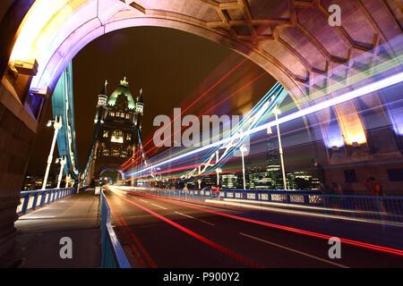 Long exposure at Tower Bridge, London. - Stock Image
