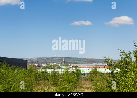 Brownfield site in Bolton, looking towards the town centre. Formerly the site of Raikes Park Bolton greyhound stadium on Manchester Road/Raikes Lane.  - Stock Image