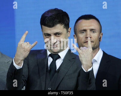 Kiev, Ukraine. 19th Apr, 2019. Ukrainian comedian actor and presidential candidate VOLODYMYR ZELENSKIY reacts during debate with Ukrainian President and Presidential candidate at the Olimpiyskiy Stadium. The comedian is expected to crush the incumbent in the election. The second round of presidential elections will held on April 21. Credit: Serg Glovny/ZUMA Wire/Alamy Live News - Stock Image