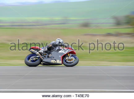 East Fortune, UK. 14 April, 2019. 76 Richard Stanbury riding an Aprillia RSV !000in a  Pre-injection 600, Pre-injection 1200 and Sound of Thunder Championship race at East Fortune Raceway, during the opening rounds of the 2019 Scottish Championships, Melville Open and Club Championships. Credit: Roger Gaisford/Alamy Live News - Stock Image