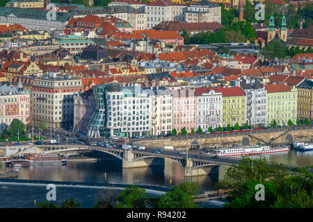 Prague aerial, view of buildings along the Nove Mesto side of the River Vltava in Prague, including the famous Dancing House(centre), Praha, Czech Rep - Stock Image