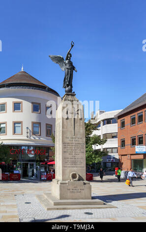 Jubilee Square war memorial in the town centre of Woking, Surrey, southeast England, UK on a sunny day with blue sky - Stock Image