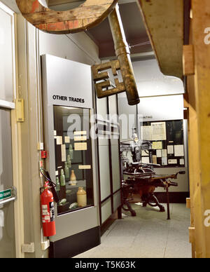 Inside Chepstow museum, Wales, UK. Museum has displays of variety of historic trades and tools used - Stock Image
