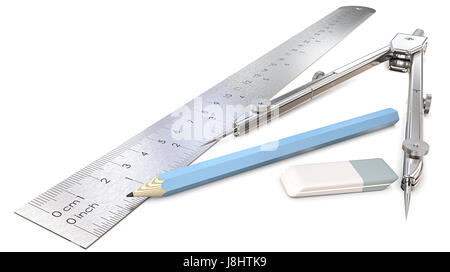 Architectural or Engineering workplace objects. Ruler, Pencil, Eraser and Divider of metal. 3D render. - Stock Image