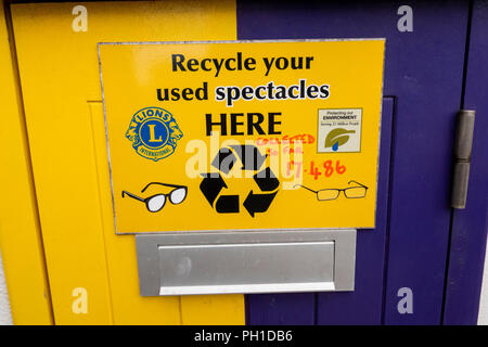 Gibraltar, Line Wall Road, Lions International spectacle recycling collection box - Stock Image