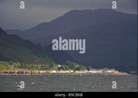 Village of Shieldaig on a stormy day, seen from Loch Torridon, West Ross shire, Scotland. - Stock Image
