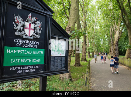 Entrance to Hampstead Heath in London UK - Stock Image