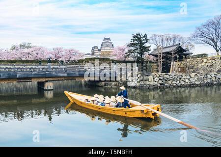 Himeji Castle with beautiful cherry blossom in spring season at Hyogo near Osaka, Japan. Himeji Castle is famous cherry blossom viewpoint in Osaka, Ja - Stock Image