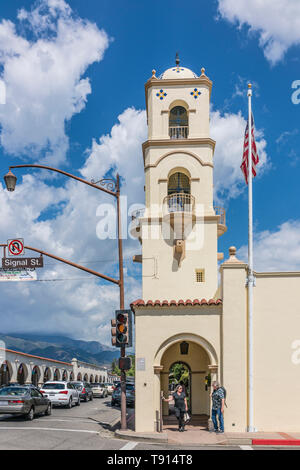 The 1917, four-story, post office bell tower in Ojai, California is a Ventura County Historical Landmark (No. 26). - Stock Image