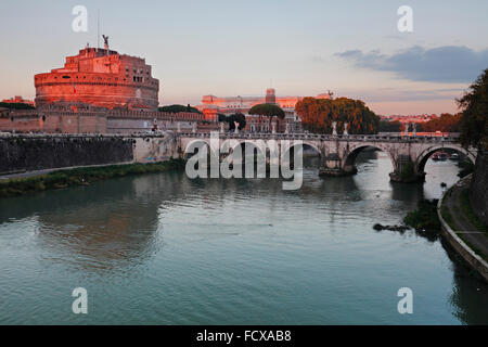 Castle of the Holy Angel the Mausoleum of Hadrian at the river Tiber in Rome, Italy; Castel Sant'Angelo, Roma - Stock Image