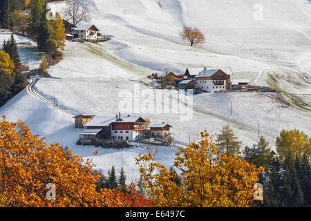 Winter, snow, Val di Funes; Dolomites mountains; Trentino-Alto Adige; South Tirol; Italy - Stock Image
