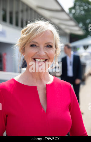 London, UK. 20th May, 2019. Carol Kirkwood, BBC Weather presenter attend RHS Chelsea Flower Show Press Day which takes place before it officially opens tomorrow until Saturday 25th May. The world renowned flower show is a glamourous, fun and an educational day out which is attended by many celebrities. There are many gardens, floral displays, Marquees all set in the glorious grounds of The Royal Hospital Chelsea. Credit: Keith Larby/Alamy Live News - Stock Image
