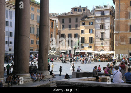 The Pantheon in rome, square with people on summer day - Stock Image