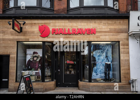 TORONTO, CANADA - NOVEMBER 13, 2018: Fjallraven logo in front of their local store in downtown Toronto, Ontario. Fjallraven is a Swedish clothing and  - Stock Image