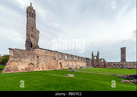 St Andrews Cathedral ruins at St Andrews Fife Scotland UK - Stock Image