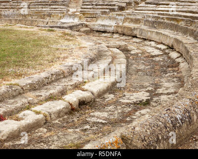 Remains of the amphitheatre at the Metaponto Archaeological Park, Province of Matera, Italy - Stock Image
