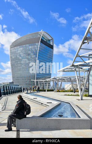 Fen Court Fenchurch Street rooftop garden & water feature on15 storey office building with stunning vistas of the City of London skyscraper skyline UK - Stock Image
