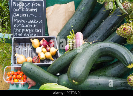 Helmsley Walled Garden Kitchen Garden Produce offered to visitors in exchange for a donation - Stock Image
