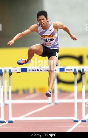 Osaka, Japan. 19th May, 2019. Keisuke Nozawa Athletics : IAAF World Challenge Seiko Golden Grand Prix 2019 Osaka Men's 400m Hurdles Final at Yanmar Stadium Nagai in Osaka, Japan . Credit: Naoki Nishimura/AFLO SPORT/Alamy Live News - Stock Image