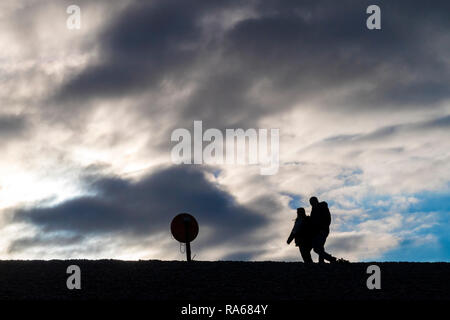 Budleigh Salterton, Devon, 1st Jan 19, People out above the Otter Estuary at Budleigh Salterton, Devon. Photo Central / Alamy Live News - Stock Image