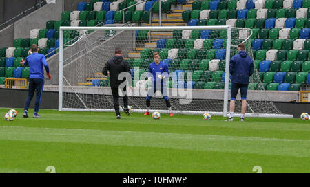 Windsor Park, Belfast, Northern Ireland. 20 March 2019. Northern Ireland training in Belfast this morning ahead of their UEFA EURO 2020 Qualifier against Estonia tomorrow night in the stadium. Bailey Peacock-Farrell in training. Credit: David Hunter/Alamy Live News. - Stock Image