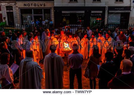 Easter celebration, St. Pierre du Gros Caillou parish church on Rue St. Dominique, Paris, France. - Stock Image