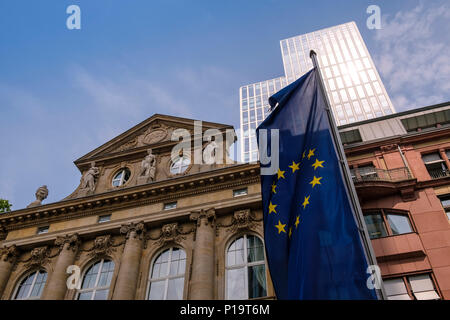 Mix of old and modern style architecture, with European flag, seen on Kaiserstrasse street scene, Frankfurt am Main, Hesse, Darmstadt, Germany - Stock Image