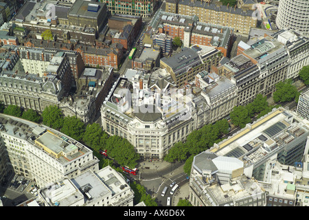 Aerial view of Bank Aldwych Restaurant on the corner of Kingsway and Aldwych near the Covent Garden area of  London - Stock Image