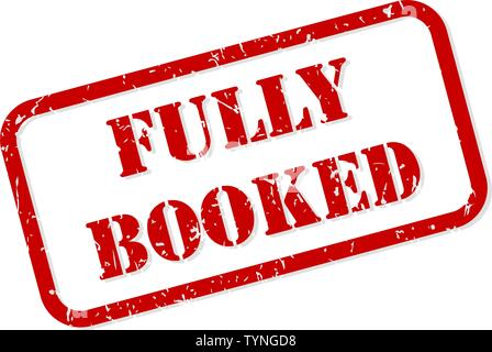 Fully booked red rubber stamp vector isolated - Stock Image