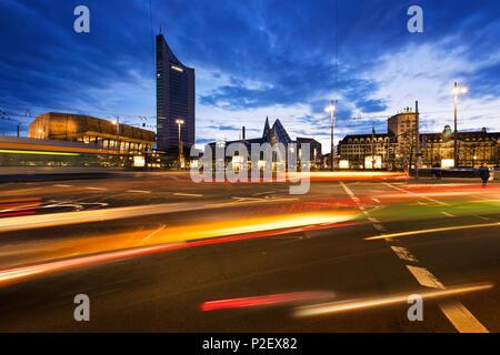 Architecture, Exterior View, Augustusplatz, Saxony, Leipzig, Germany, Europe - Stock Image