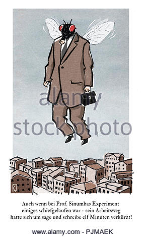 man flies to work - Stock Image