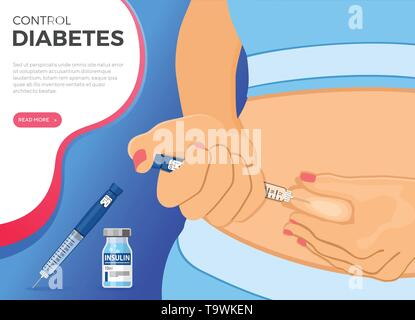 Control your Diabetes concept. Woman holds insulin pen syringe in hand and makes injection. flat style icon. concept of vaccination. isolated vector i - Stock Image