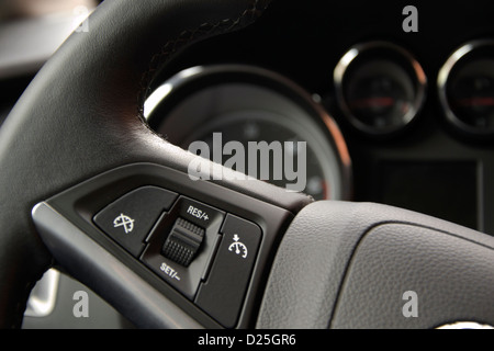 A steering wheel in leather. - Stock Image