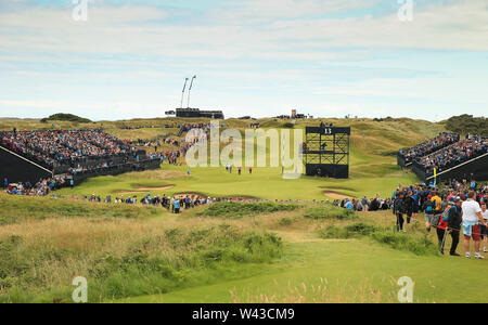 19th July, Portrush, Country Antrim, Northern Ireland; The 148th Open Golf Championship, Royal Portrush, Round Two ; a view of the 13th green and fans in the grandstands - Stock Image