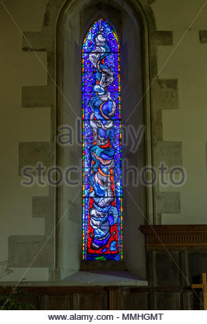 Modern stained glass windows  by Patrick Reyntiens in All Saints Church, Hinton Ampner. - Stock Image