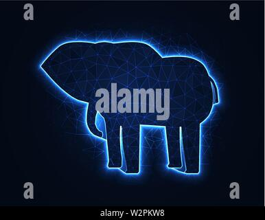 Elephant magic low poly model, African animal polygonal wireframe vector illustration on dark blue background - Stock Image