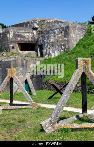 Old World War Two fortifications in the port of St Malo in the Brittany region of northwest France. - Stock Image