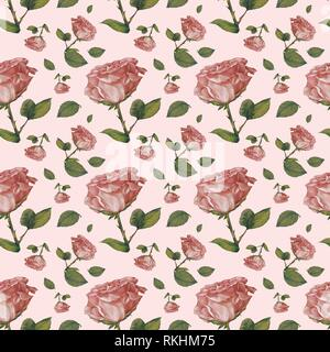 Wallpaper, wrapping paper, seamless pattern, antique pink roses, pink background, Germany - Stock Image