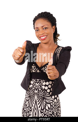 Portrait of happy young businesswoman and enjoying with hand signs - Stock Image