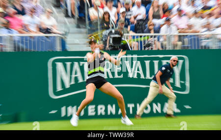 Eastbourne, UK. 23rd June 2019. Blur effect photograph of Johanna Konta of Great Britain in action on her way to victory over Dayana Yastremska of Ukraine in their first round match at the Nature Valley International tennis tournament held at Devonshire Park in Eastbourne . Credit : Simon Dack / TPI / Alamy Live News - Stock Image