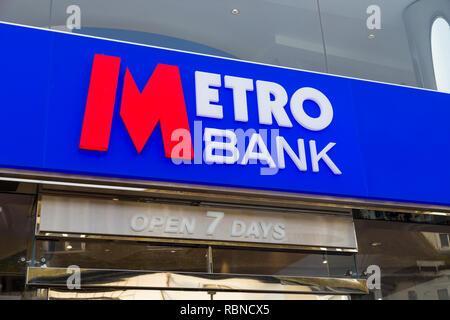 Metro bank logo, open 7 days, ashford, kent, uk - Stock Image