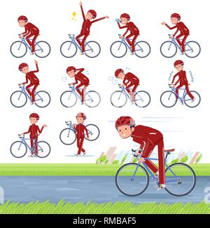 A set of school boy in sportswear on a road bike.There is an action that is enjoying.It's vector art so it's easy to edit. - Stock Image