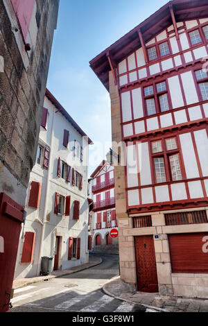 Little street in Pays Basque, France - Stock Image