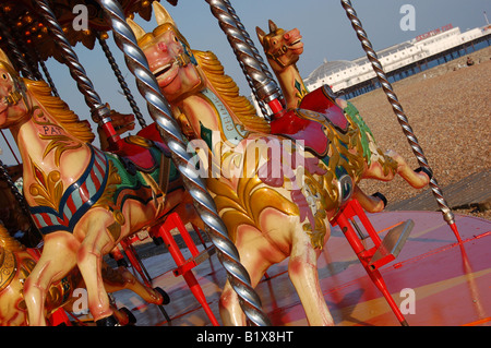 Fairground ride on Brighton Beach, East Sussex, England - Stock Image