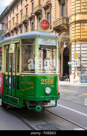 Old tram in Turin, Piedmont, Italy - Stock Image