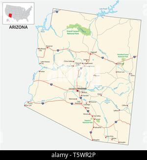 road map of the US American State of Arizona - Stock Image
