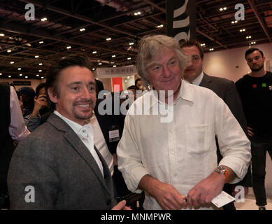 Richard Hammond and James May pose for photographs on the Drivetribe Stand, at the London Motor Show 2018. - Stock Image